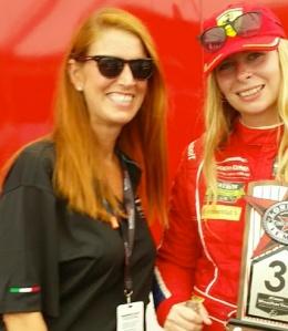 Hayley with Ferrari Scuderia Corsa driver, Christina Nielsen